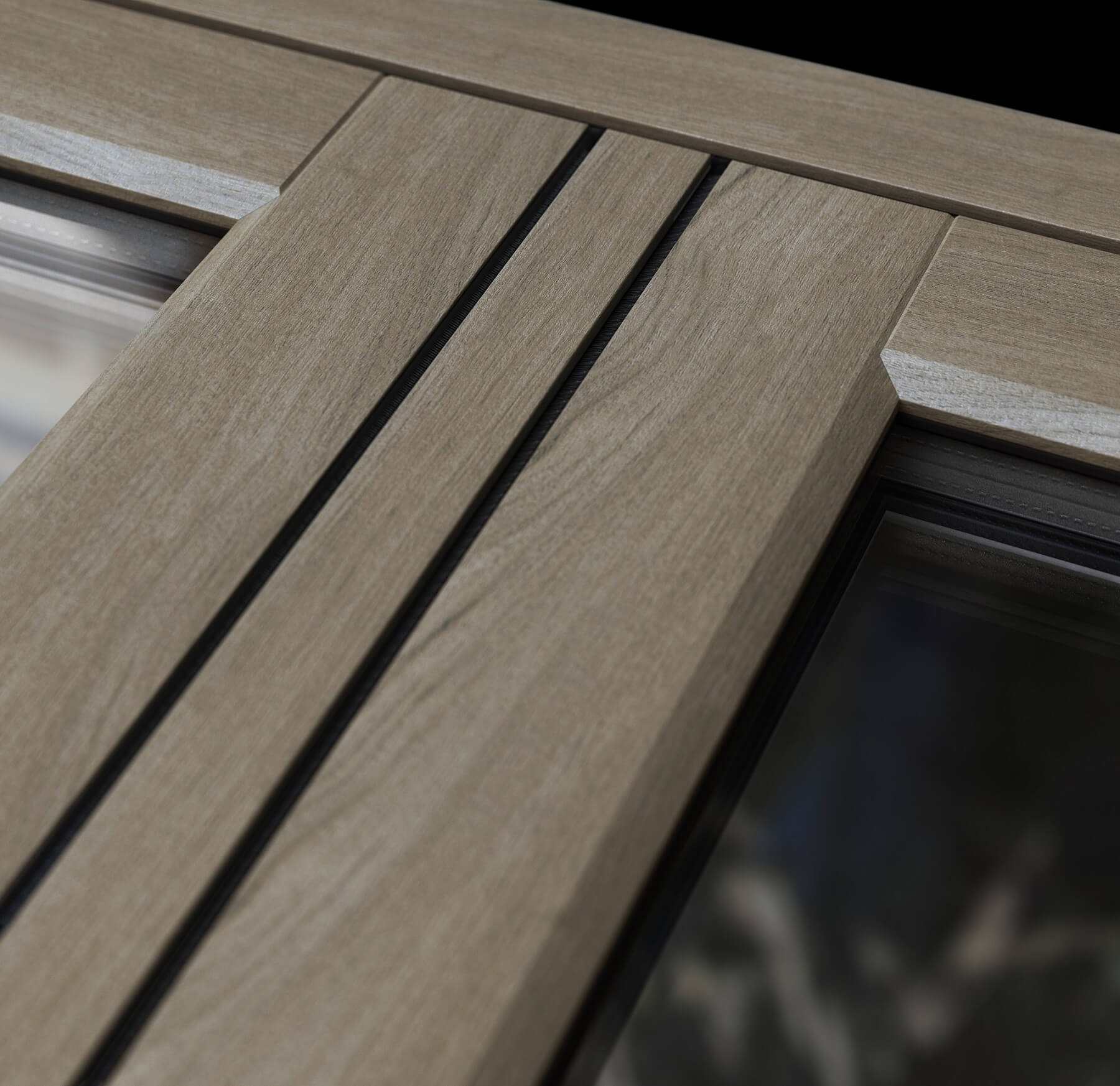 Close up of flush casement window