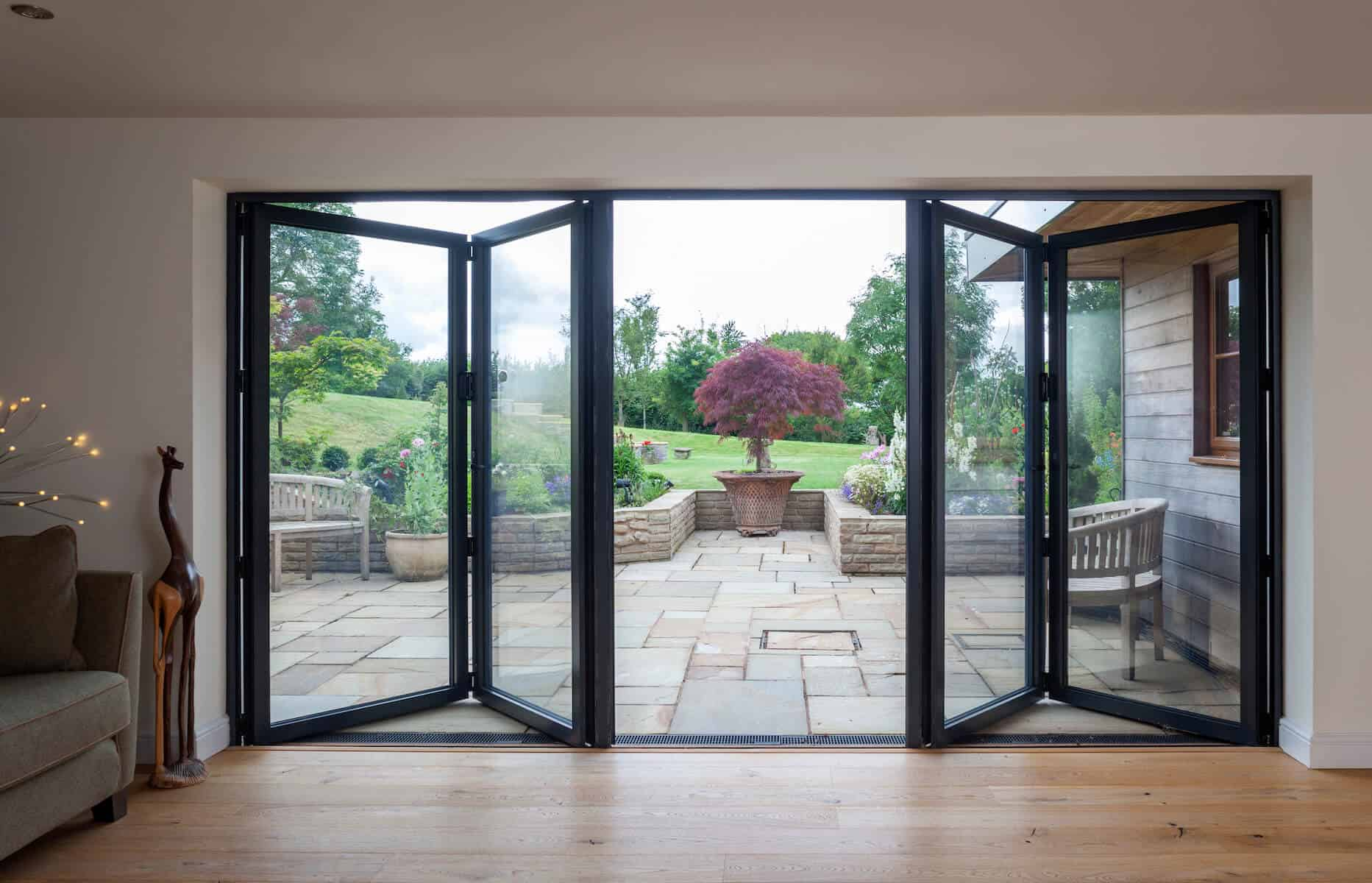 Aluminium bifolding doors in black