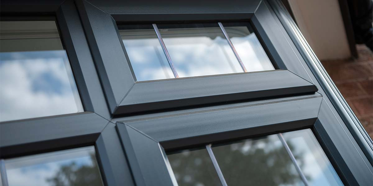 Close up of anthracite grey casement windows