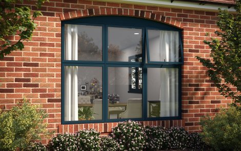 Black aluminium flush sash windows