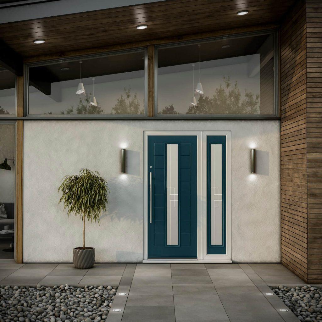 Contemporary composite door in peacock blue