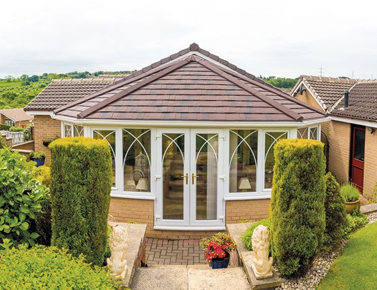 Tiled roof conservatory in brown