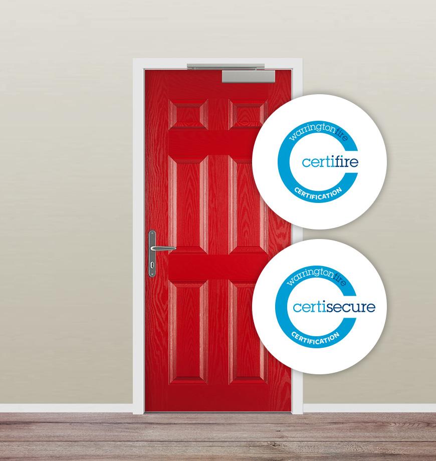 Red fire door dual certification