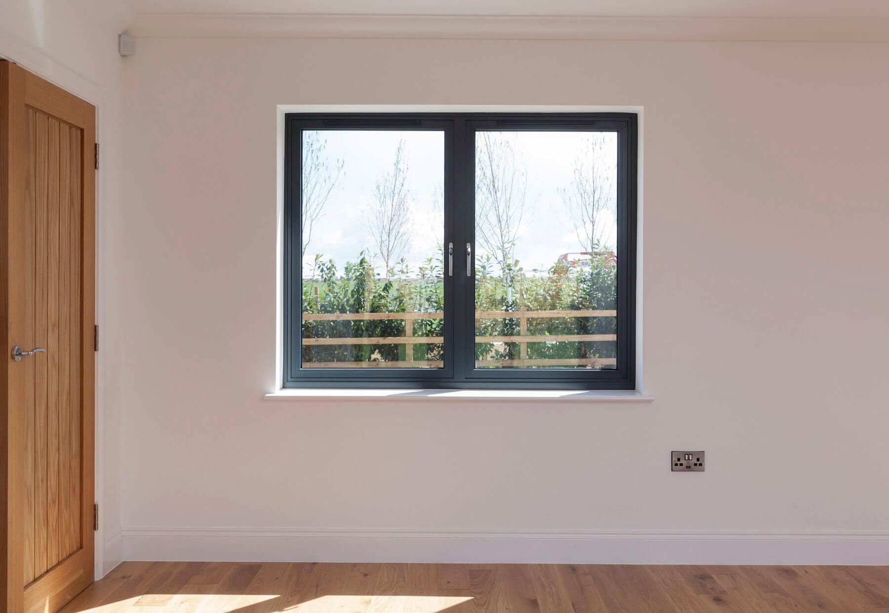 Grey aluminium window internal view