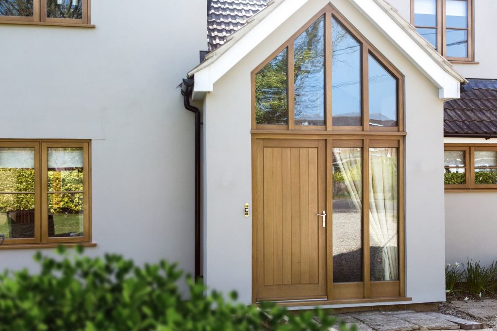 Hardwood porch with gable glazing