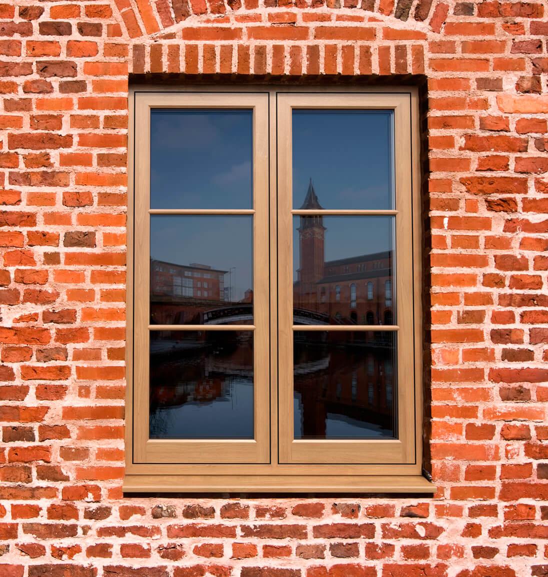 Oak flush sash window