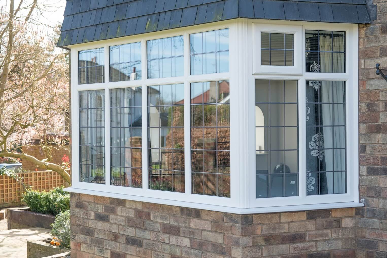 Profile 22 bay window with Georgian bars