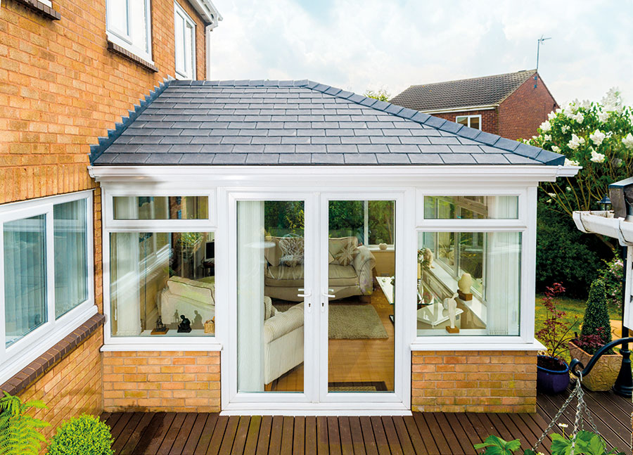 White Conservatory with Tapco Slate tiles