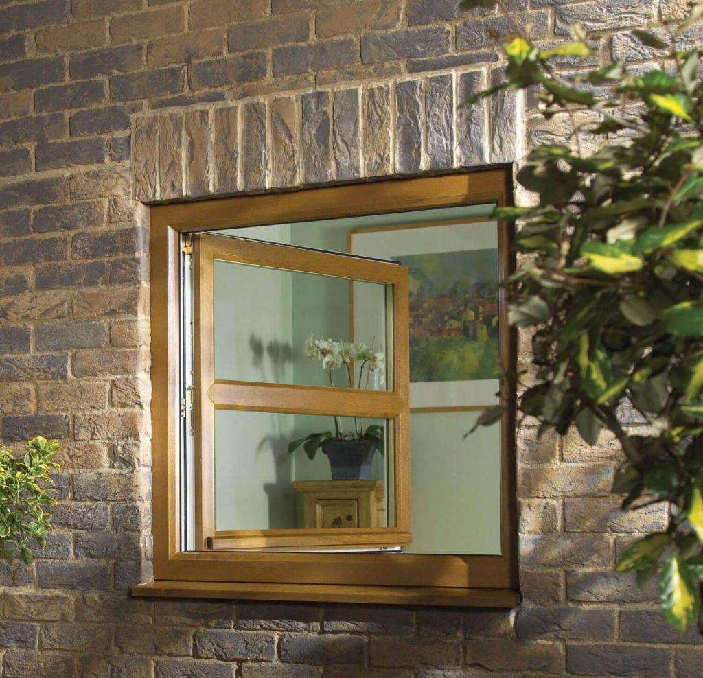 Tilt and turn windows in Light Oak