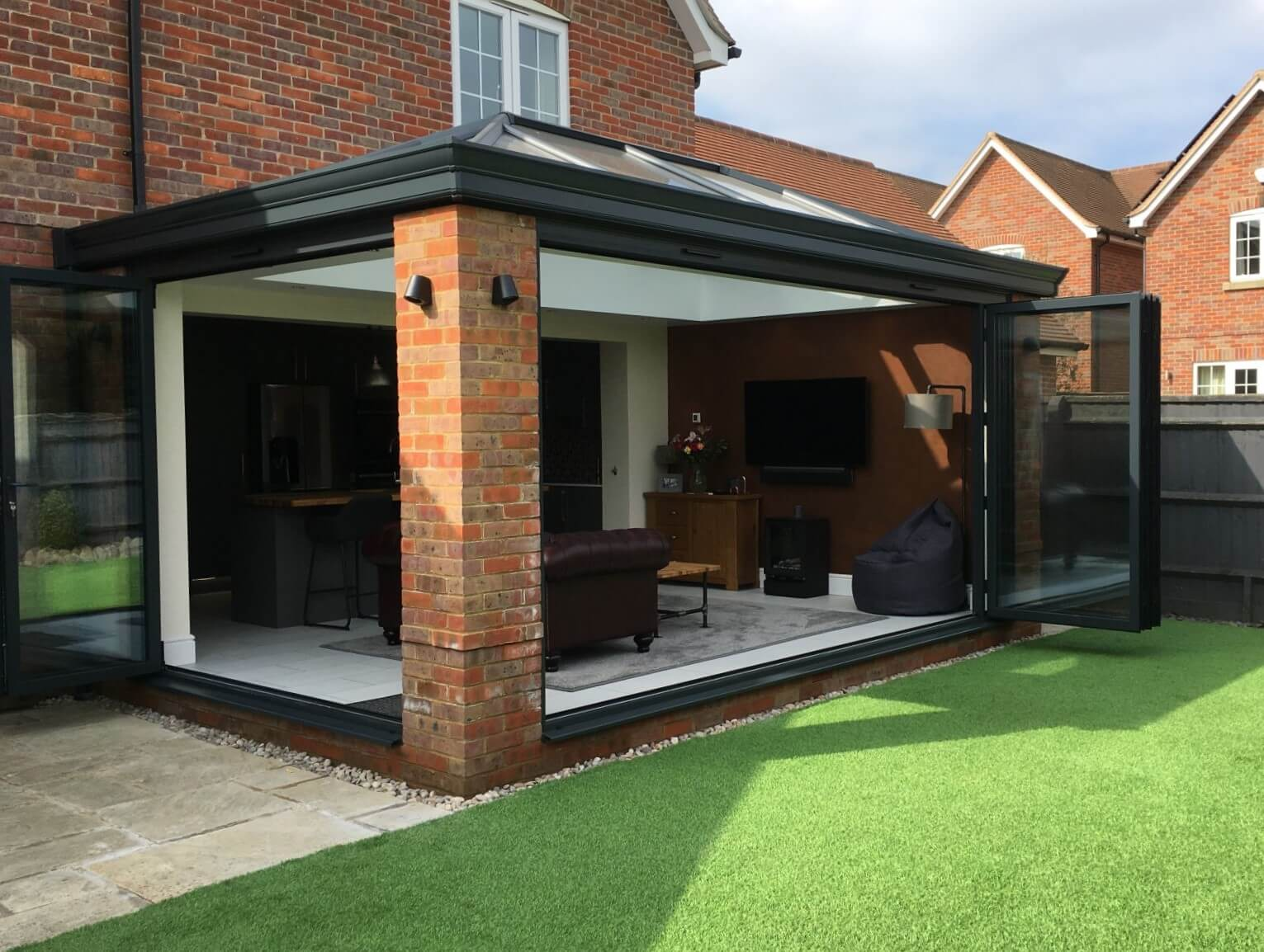 Ultraframe grey brick orangery