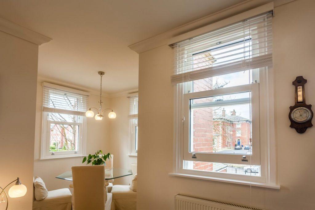 Internal view of vertical sliding sash window