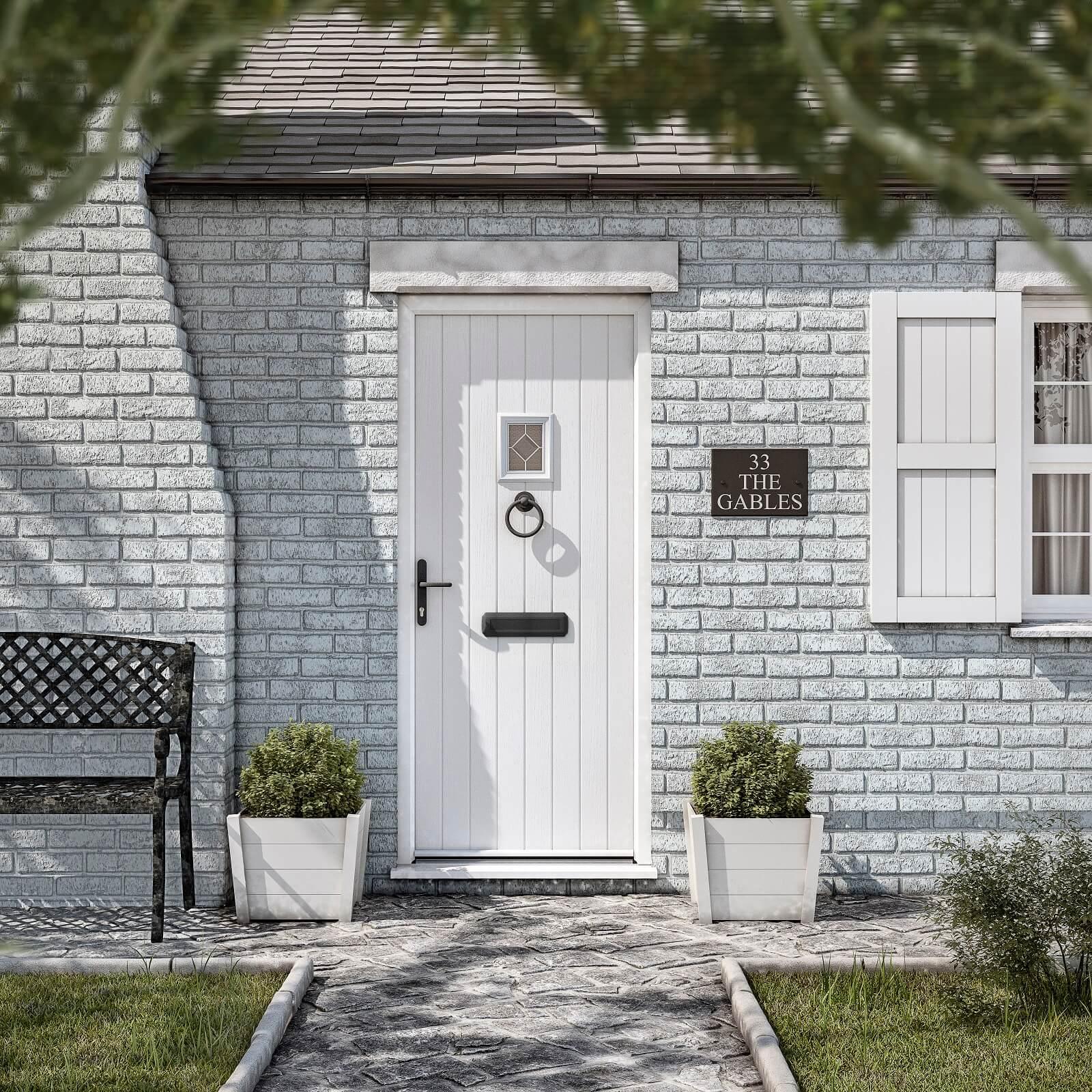White cottage front door