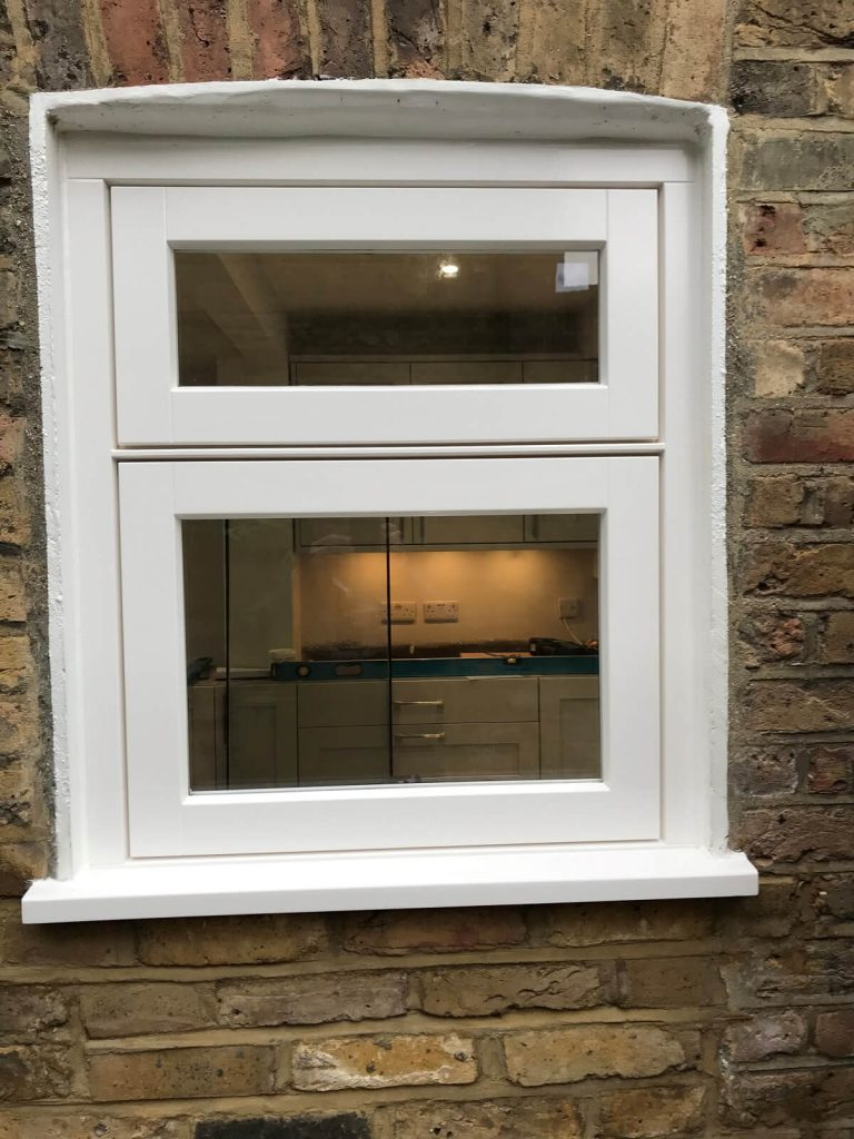 White hardwood window